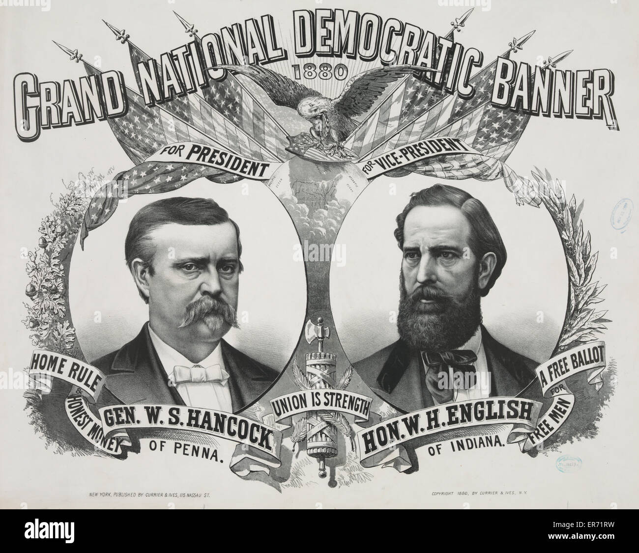Grand national Democratic banner: 1880. Date c1880. - Stock Image