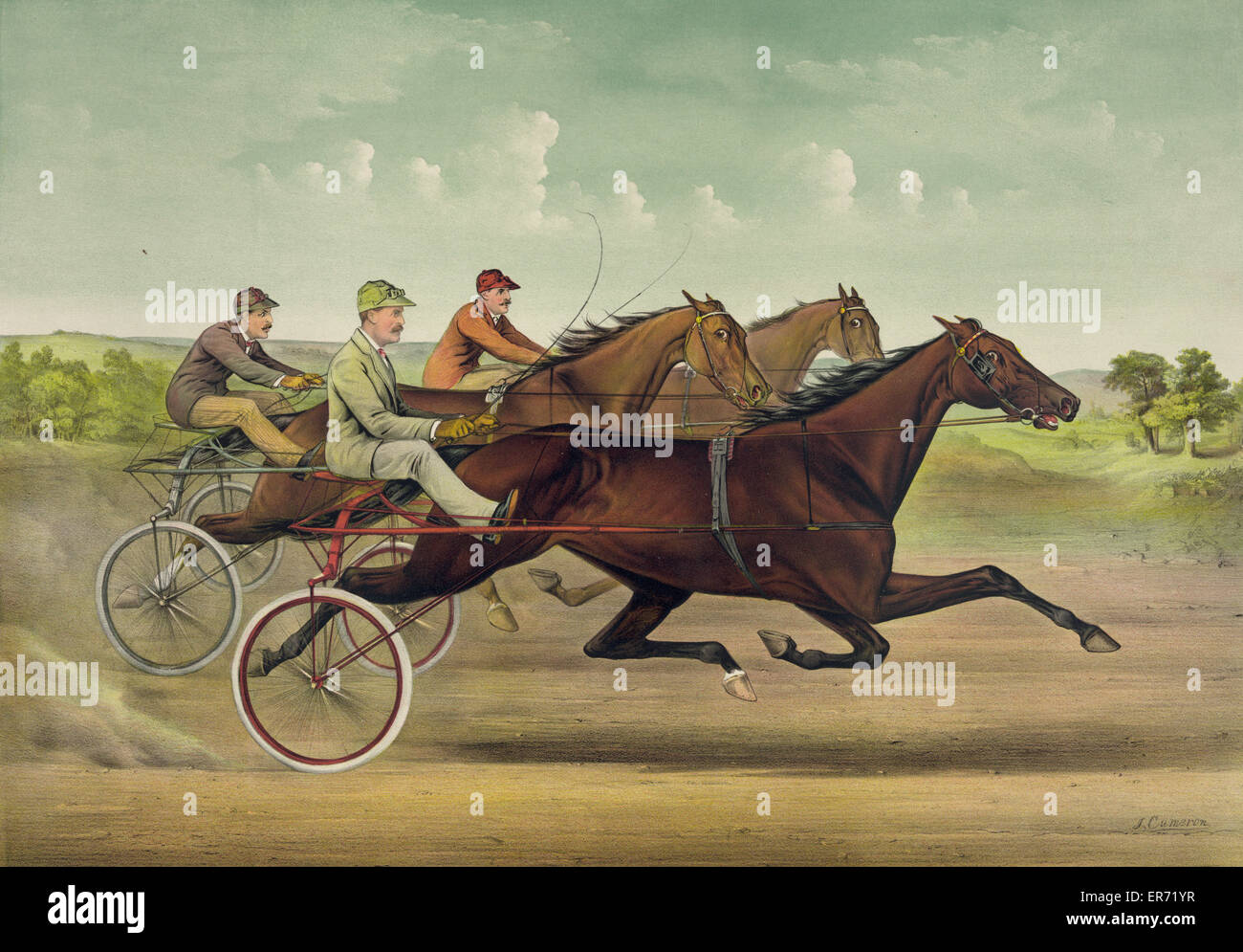 The grand trotting Queen Nancy Hanks driven by Budd Doble. Date c1892. - Stock Image