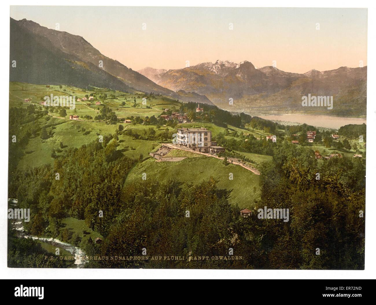 Gast and Kurhaus, Obwalden, Unterwald, Switzerland. Date between ca. 1890 and ca. 1900. - Stock Image