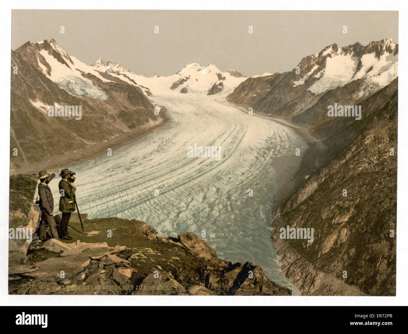 Eggishorn, Grand Aletsch Glacier, with Jungfrau, Monch and Eiger, Valais, Alps of, Switzerland. Date between ca. - Stock Image