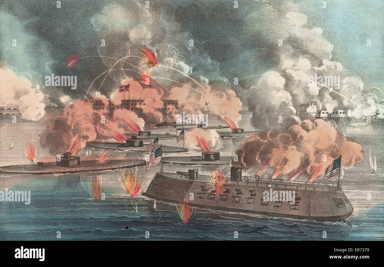 The great fight at Charleston S.C. April, 7th 1863: between 9 United States Iron-Clads, under the command of Admiral - Stock Image