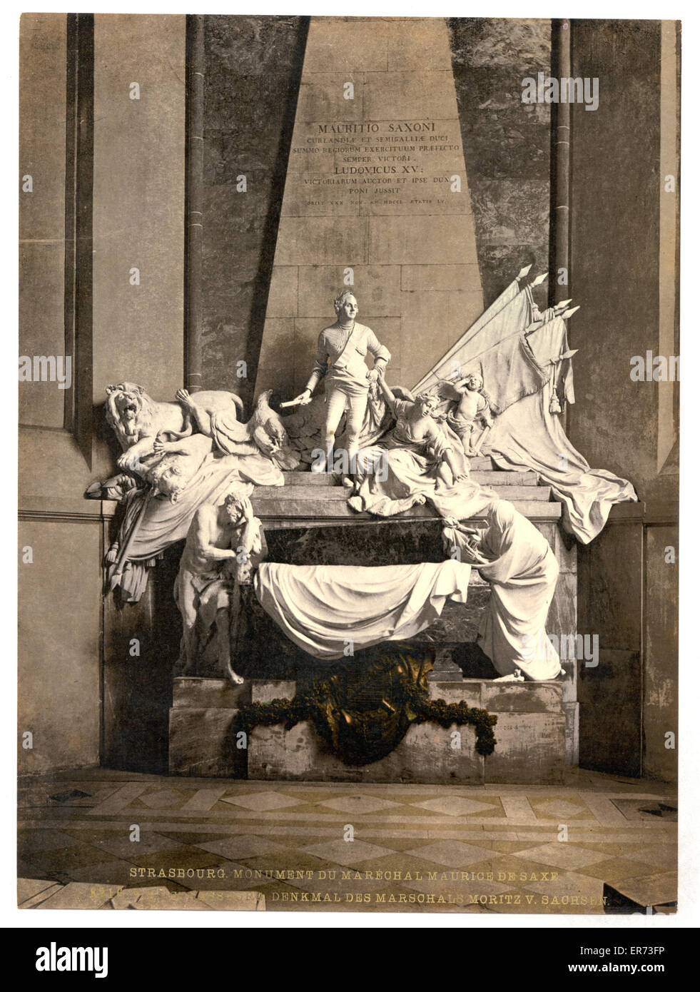 Monument to Marshall Mauritz of Saxe, Strassburg, Alsace Lorraine, Germany. Date between ca. 1890 and ca. 1900. - Stock Image