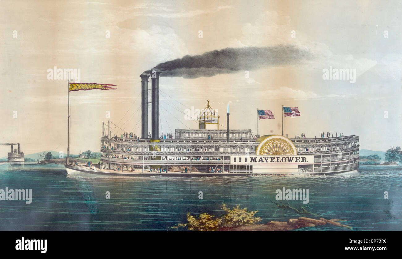 High pressure steamboat Mayflower first class packet between St. Louis and New Orleans on the Mississippi River - Stock Image
