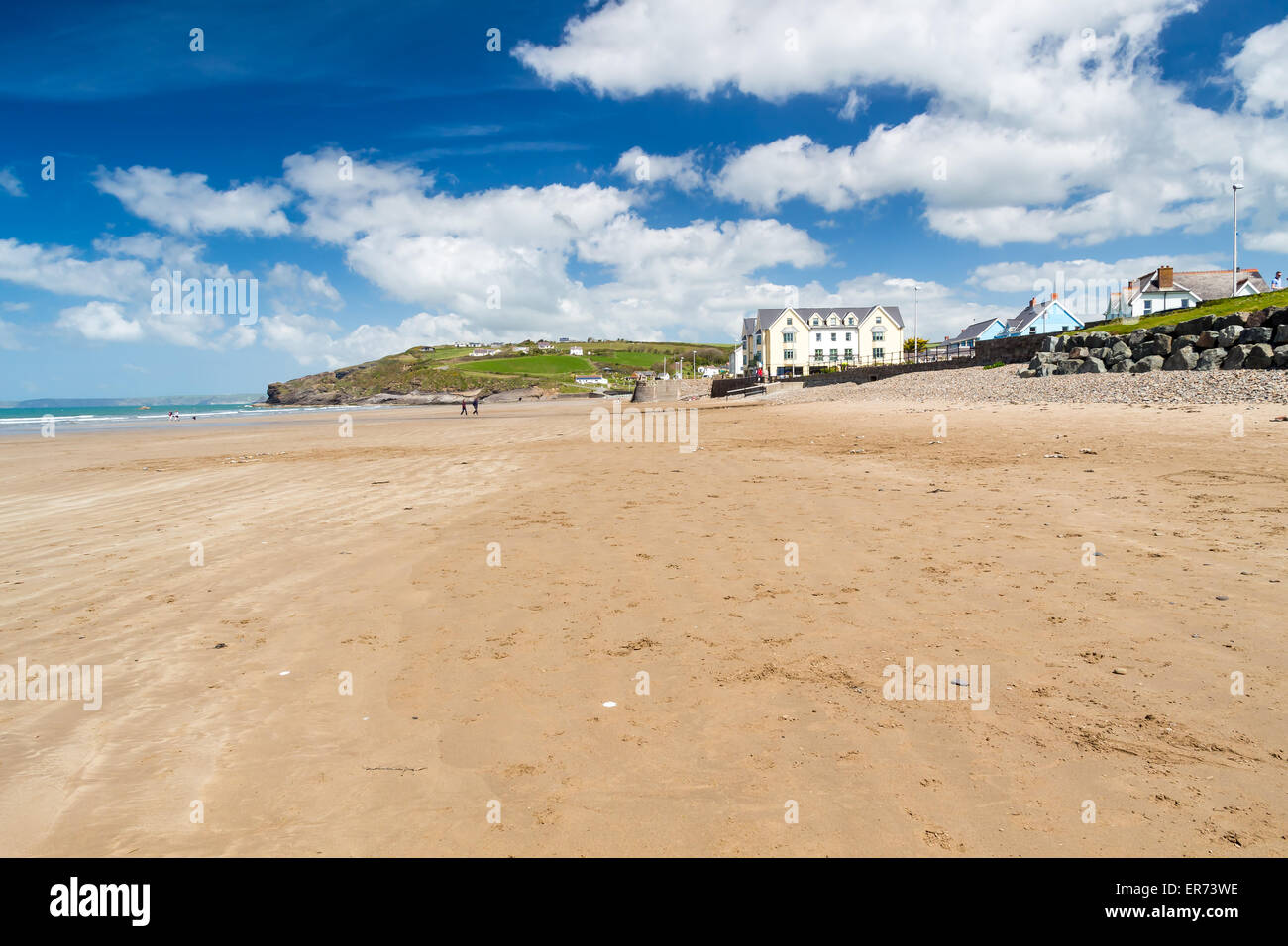 Beautiful expanse of golden sand at Broad Haven Beach Wales UK Europe - Stock Image