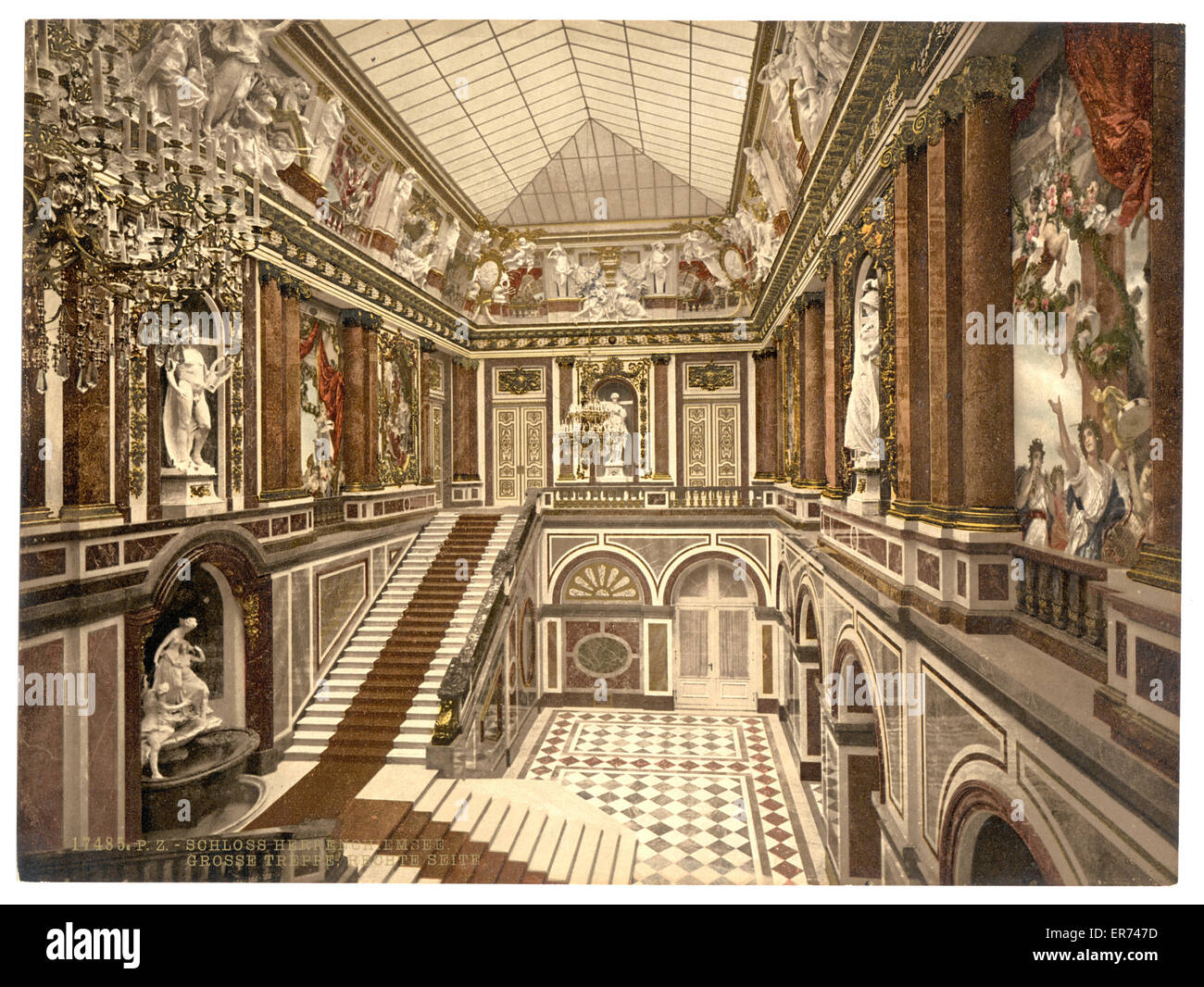 Main stairway, Herrenchiemsee Castle, Upper Bavaria, Germany. Date between ca. 1890 and ca. 1900. - Stock Image