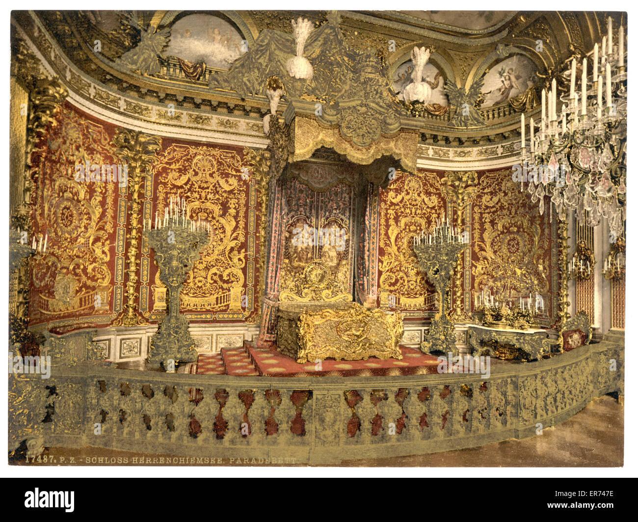 Royal Bedroom, Herrenchiemsee Castle, Upper Bavaria, Germany. Date Between  Ca. 1890