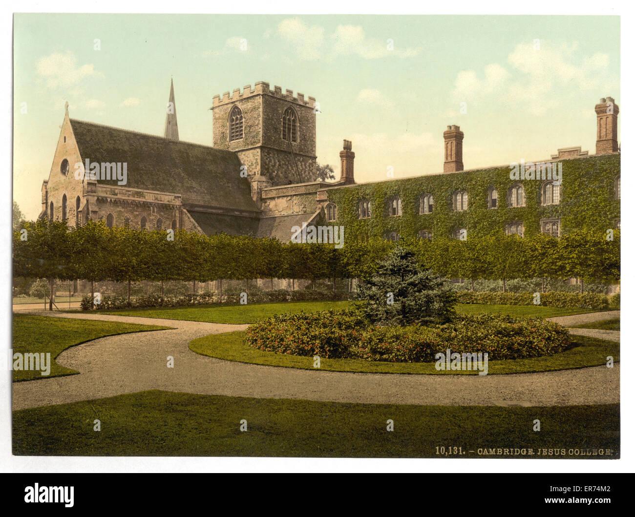 Jesus College, Cambridge, England. Date between ca. 1890 and ca. 1900. - Stock Image