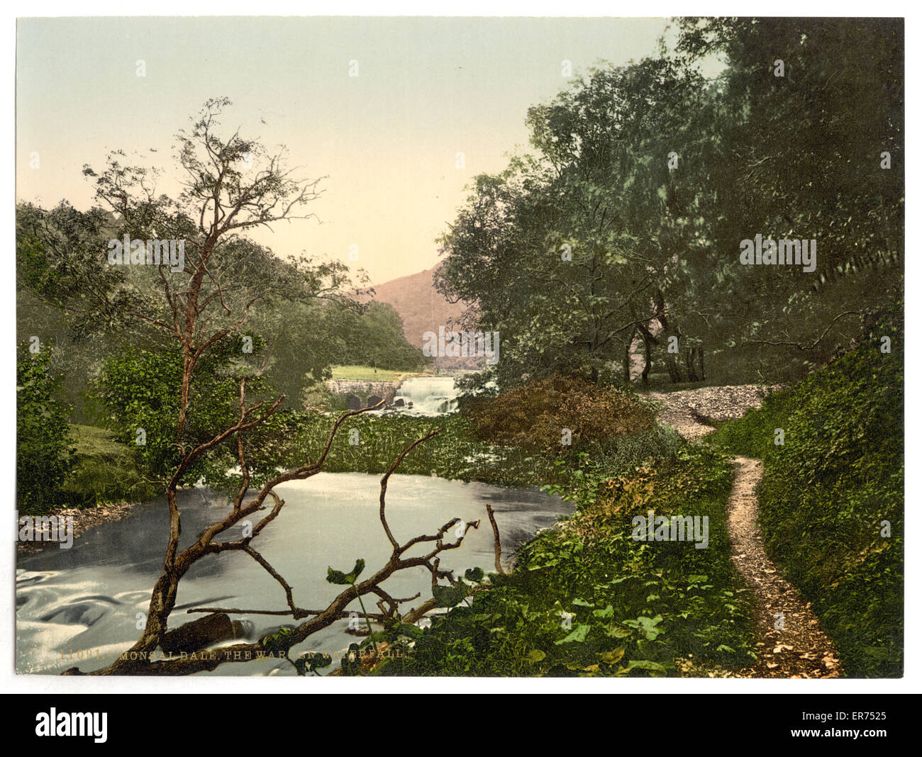 Monsal Dale, the Warren Waterfall, Derbyshire, England. Date between ca. 1890 and ca. 1900. - Stock Image