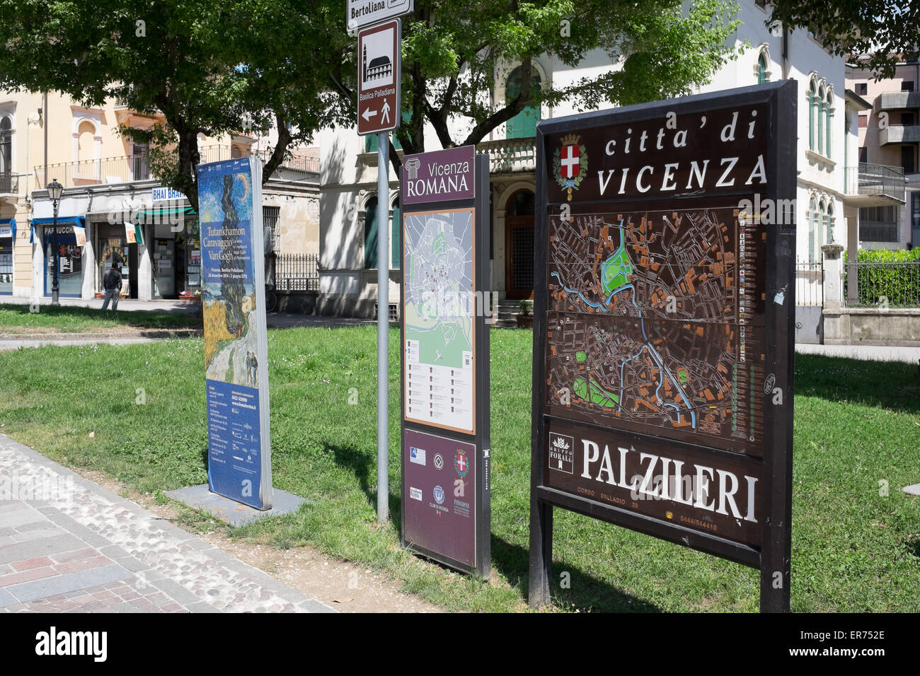 Tourist sign in the city center of Vicenza Italy. - Stock Image