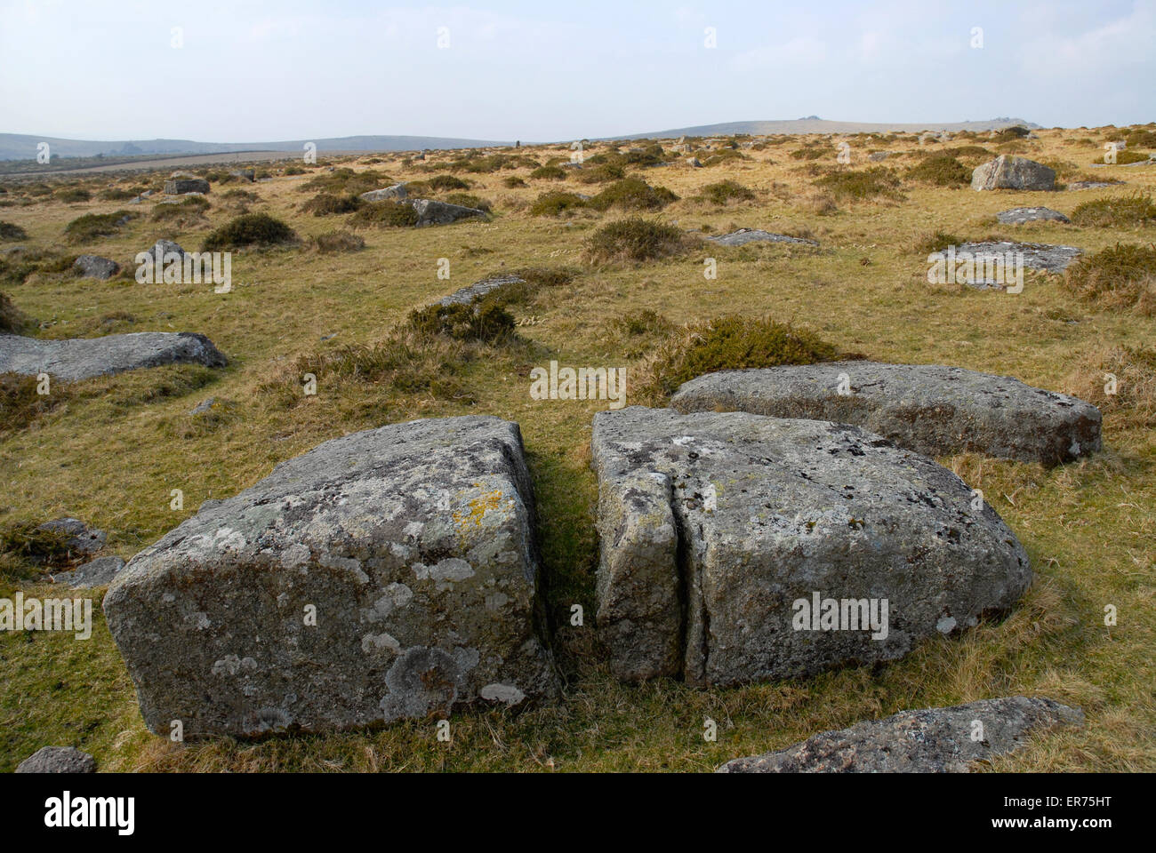 Weathered granite in an empty landscape,  Dartmoor National Park, Devon, England - Stock Image