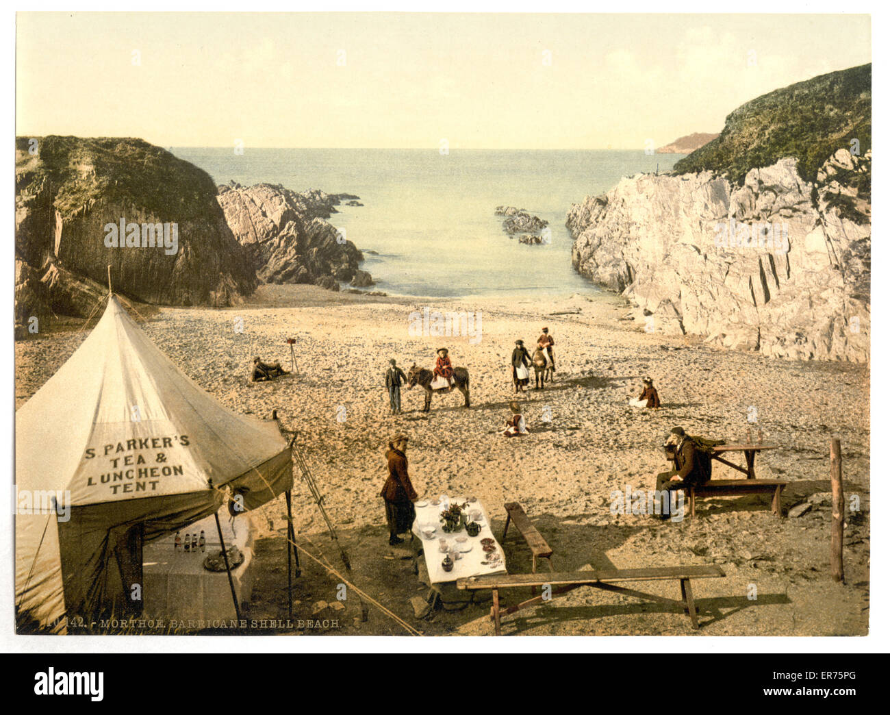 Barricane Shell Beach, Morthoe, England. Date between ca. 1890 and ca. 1900. - Stock Image