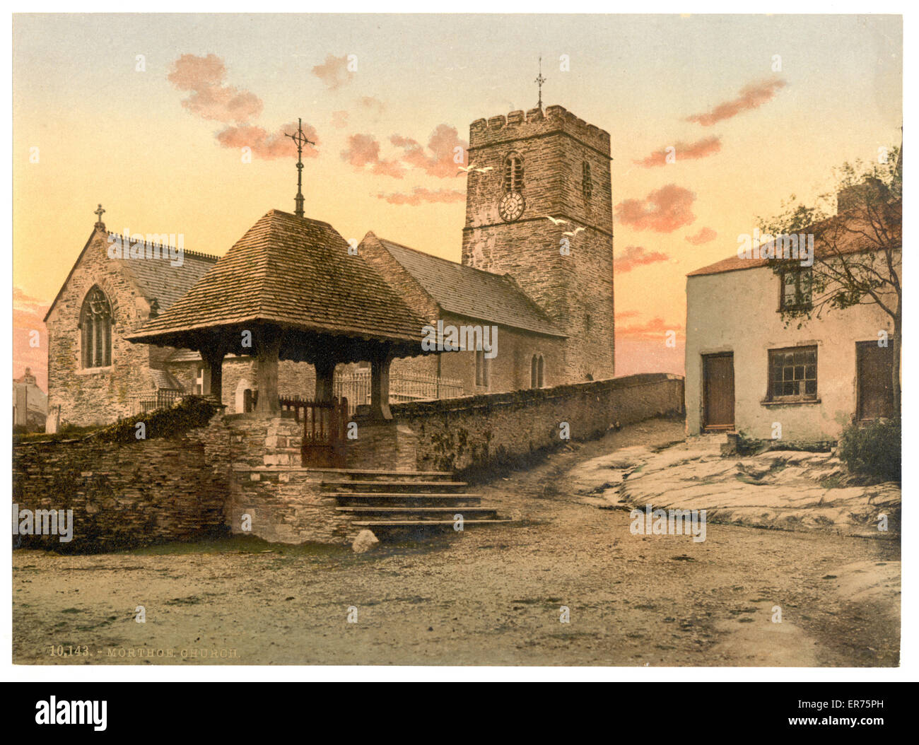 The Church, Morthoe, England. Date between ca. 1890 and ca. 1900. - Stock Image