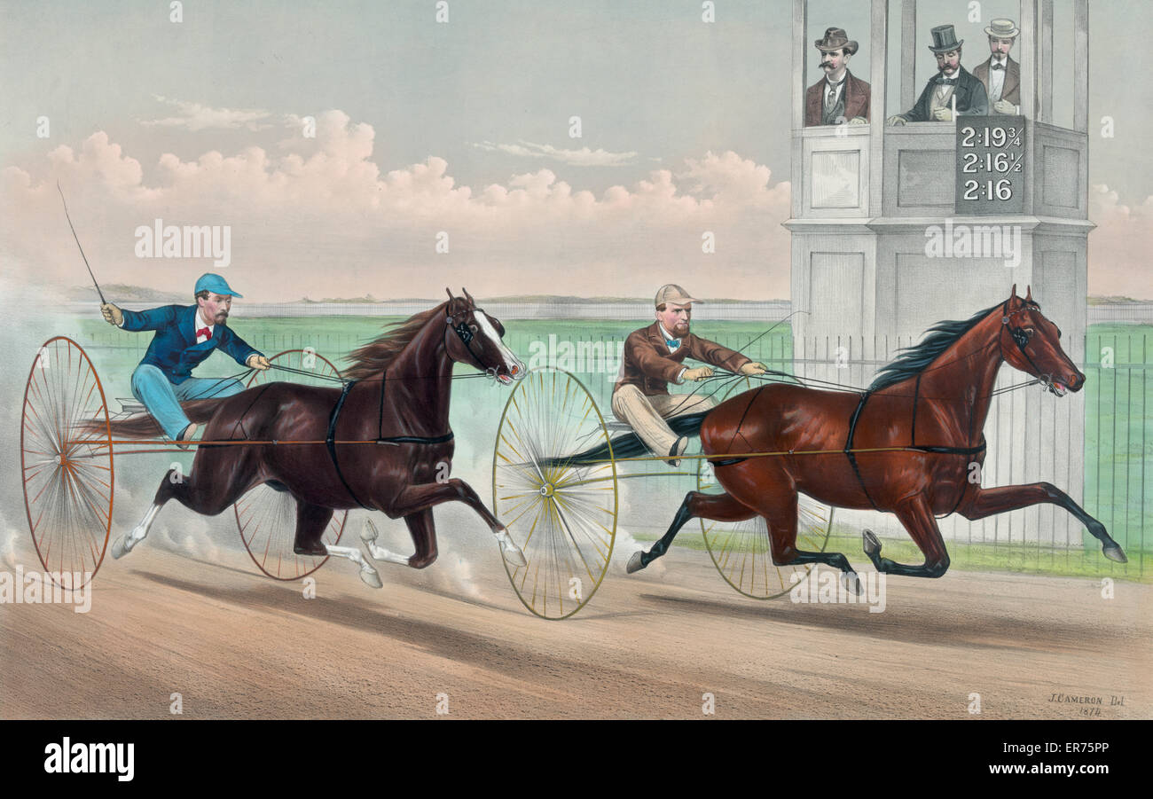 A third heat in two sixteen!!: Judge Fullerton and Goldsmith Maid in their great trot at East Saginaw, Mich. July - Stock Image