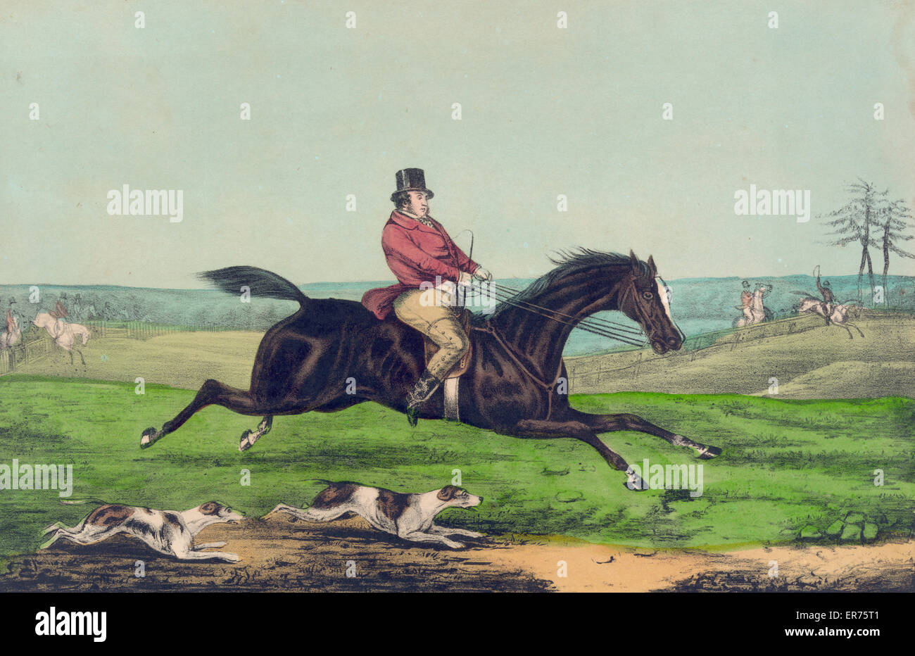 Up to sixteen stone: hunting casualties. Date between 1835 and 1856. - Stock Image