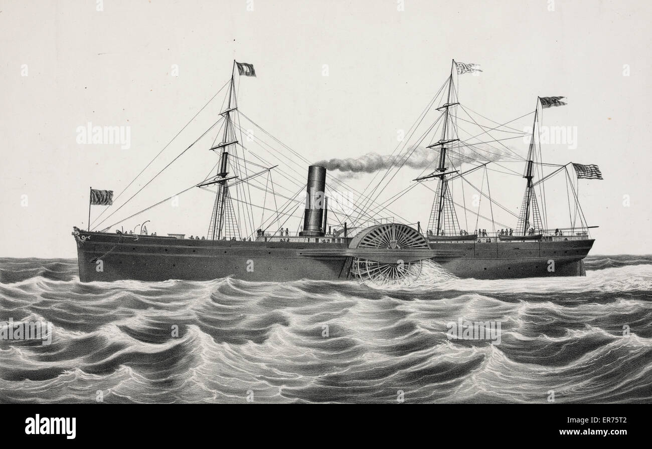 U.S. mail steam ship Arctic: Collin's line builders, hull by Wm. H. Brown N.Y. engines by Stillman Allen & Co. Stock Photo