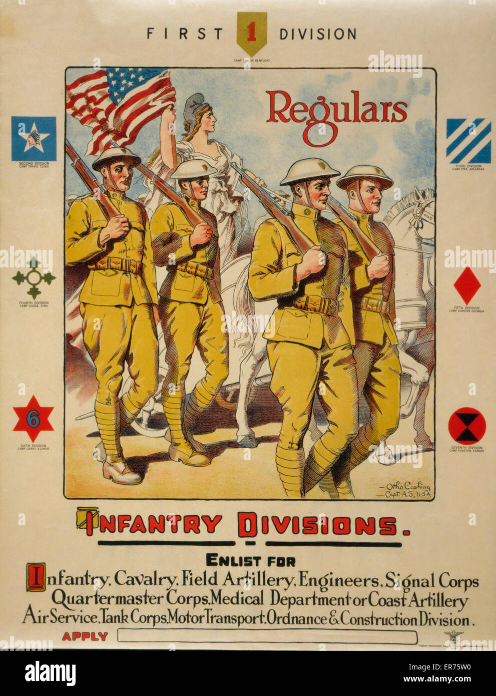 First division, regulars - Infantry divisions - Enlist for infantry, cavalry, field artillery  Poster showing soldiers - Stock Image