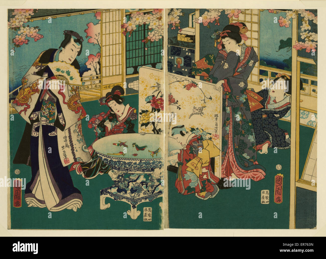 Flower performance. Ukiyo-e diptych showing richly-dressed man, two children, and two women in a richly-appointed - Stock Image