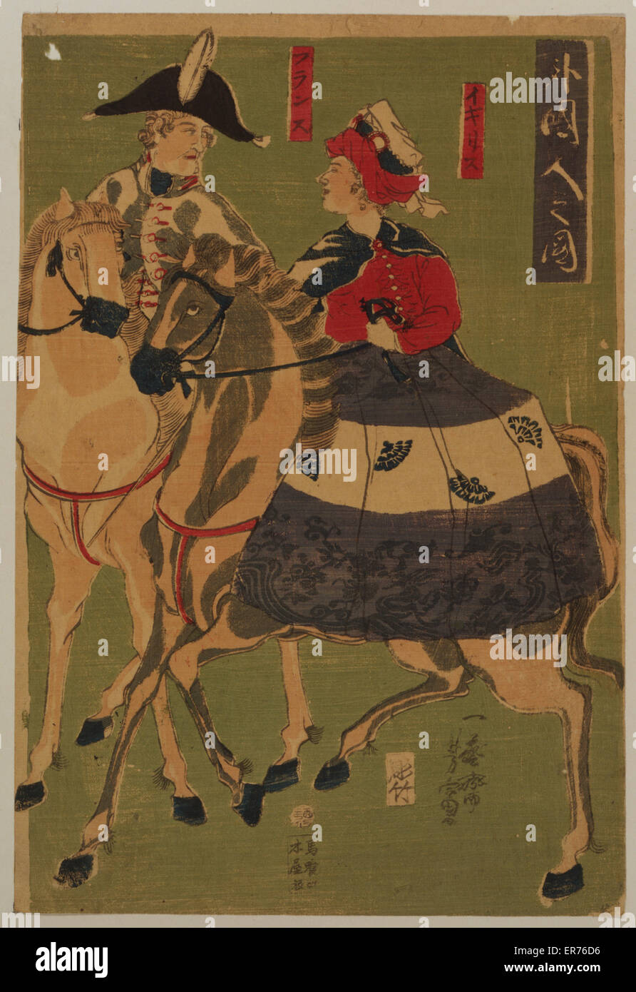 Portraits of foreigners - English, French. Japanese print shows an Englishman and a French woman horseback riding. - Stock Image