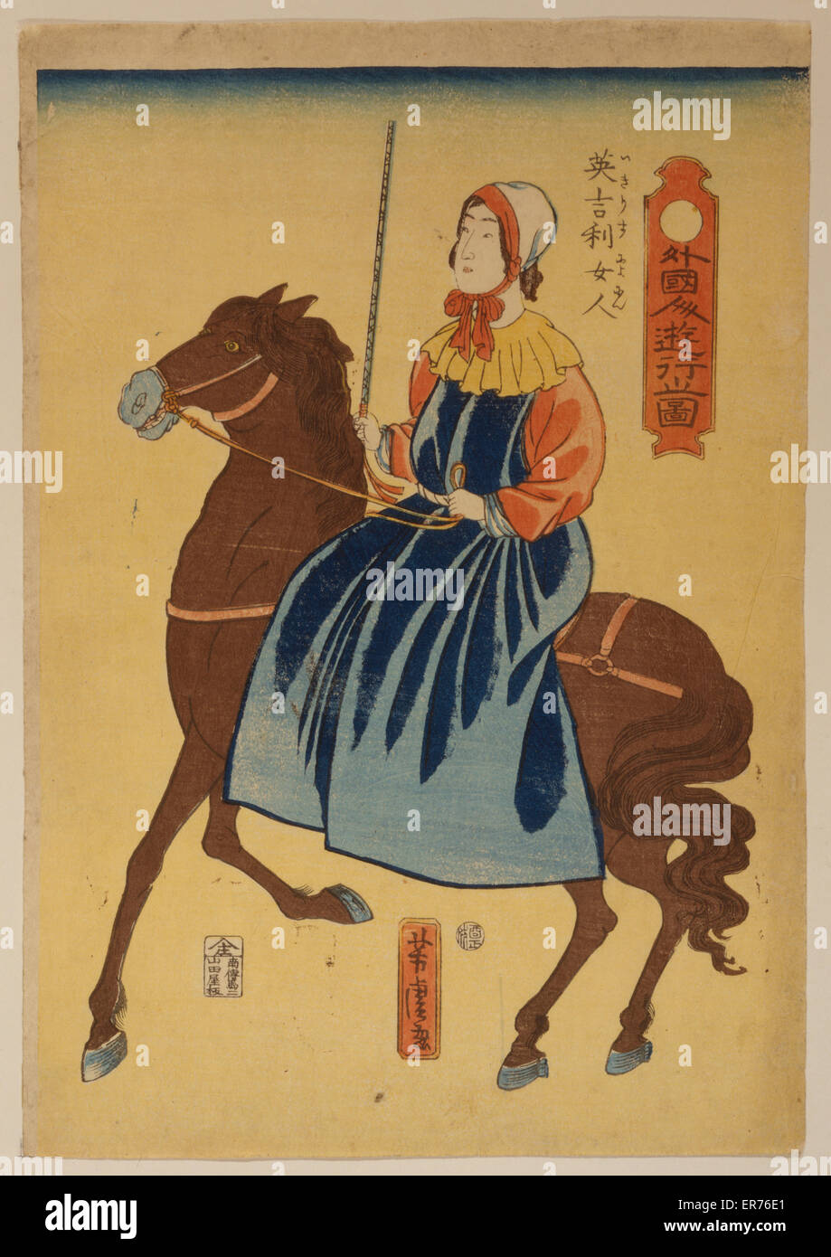 Foreigners enjoying themselves - English woman. Japanese print shows a woman riding sidesaddle. Date 1861. - Stock Image