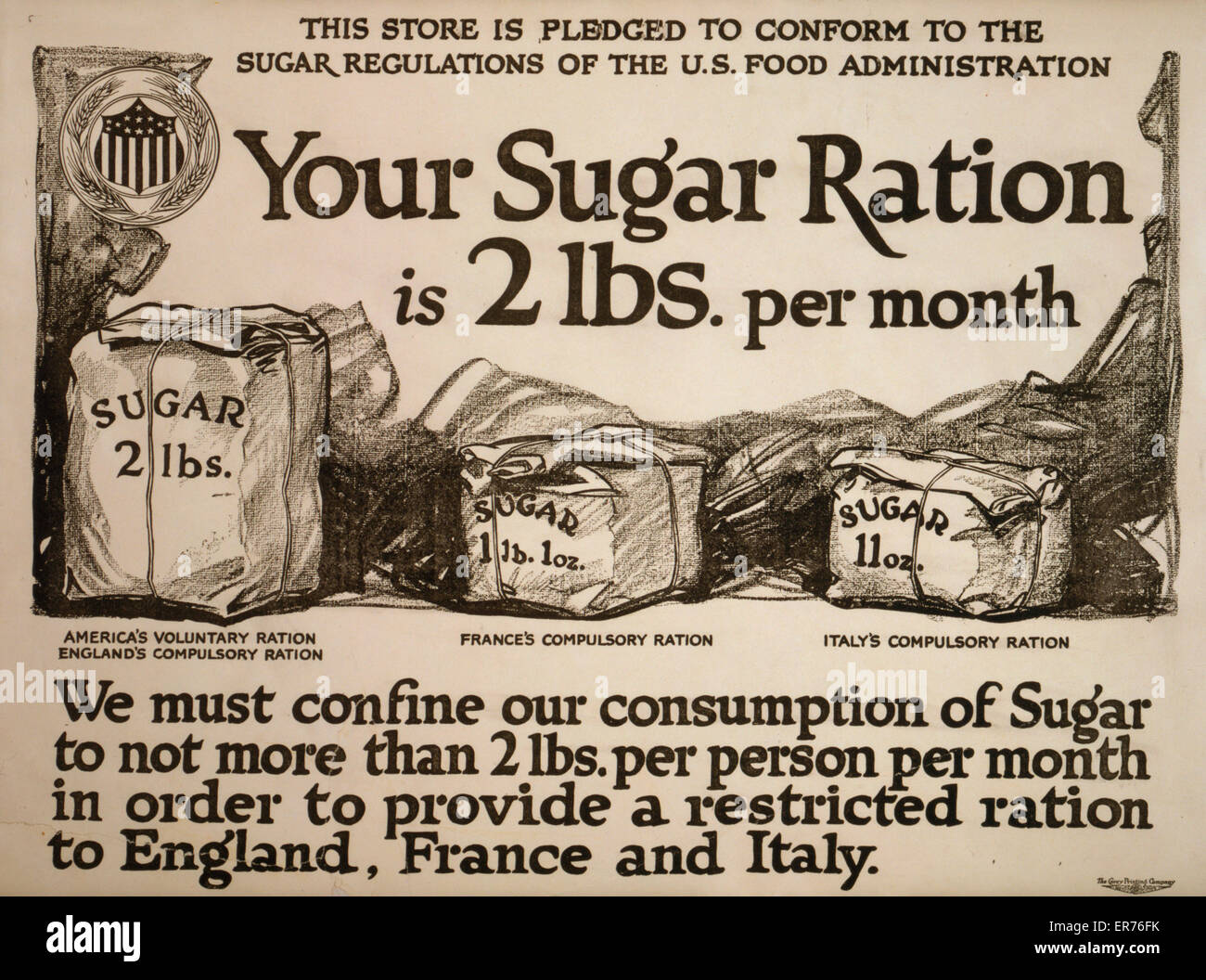 Your sugar ration is 2 lbs. per month. Poster showing sacks of sugar, comparing America's voluntary ration to - Stock Image