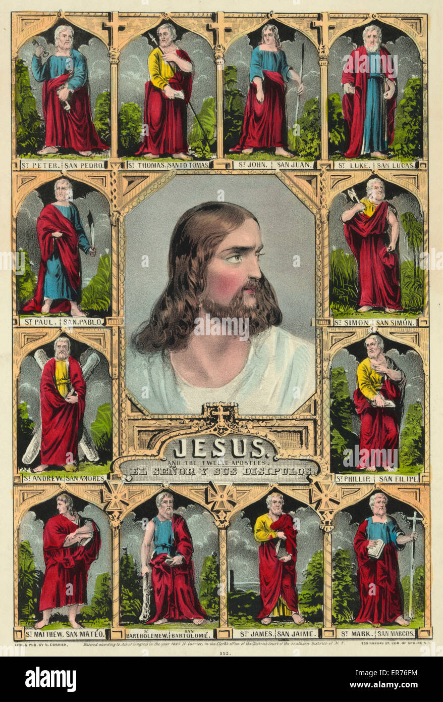 Jesus: and the twelve apostles. Date c1847. - Stock Image