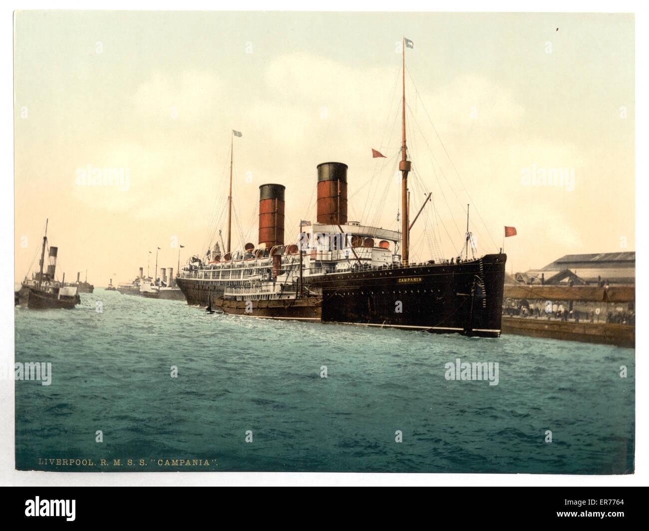 R. M. S. Campania in the Mersey. Date between ca. 1890 and ca. 1900. R. M. S. Campania in the Mersey. Date between - Stock Image