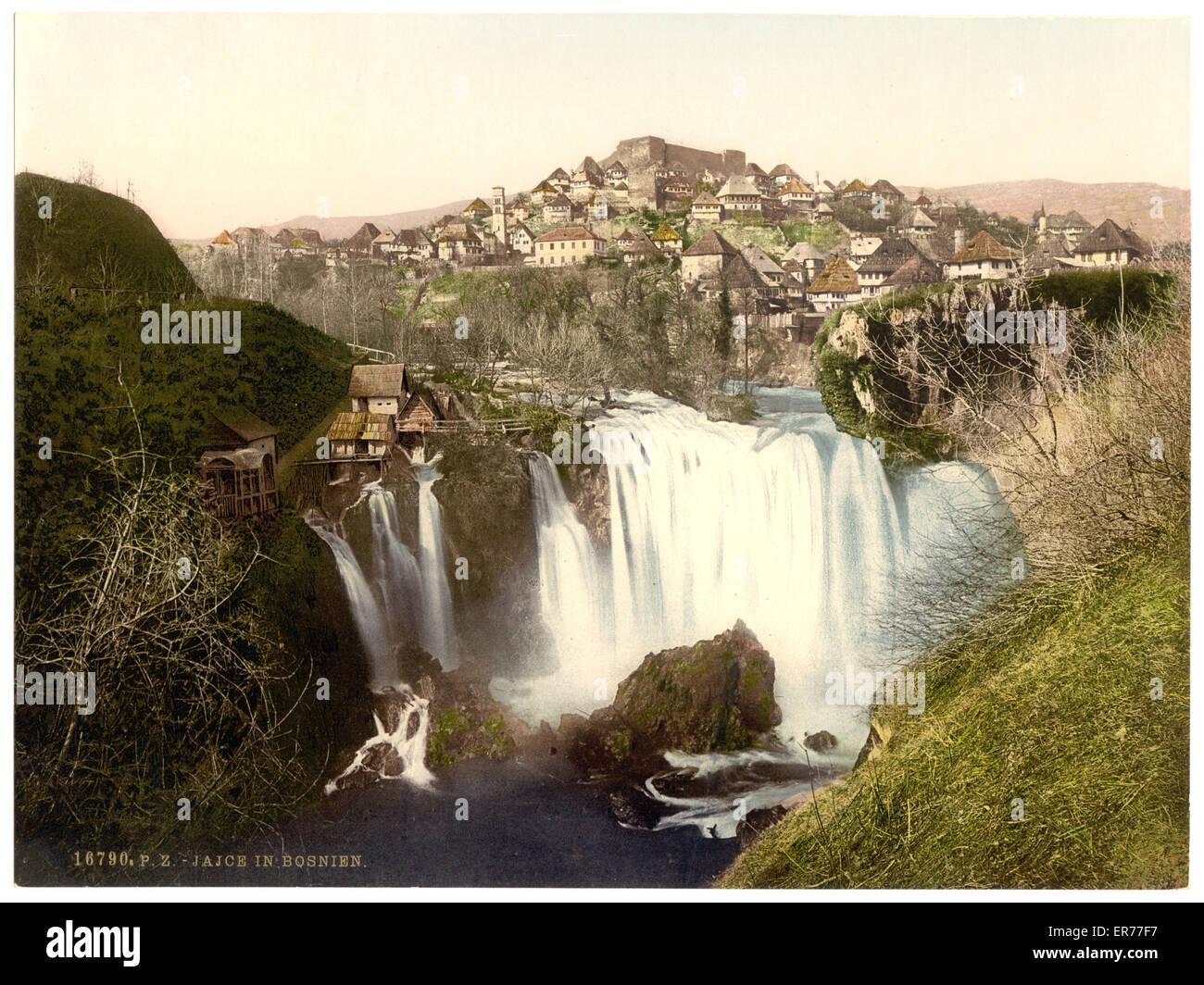 Jajce, Bosnia, Austro-Hungary. Date between ca. 1890 and ca. 1900. - Stock Image
