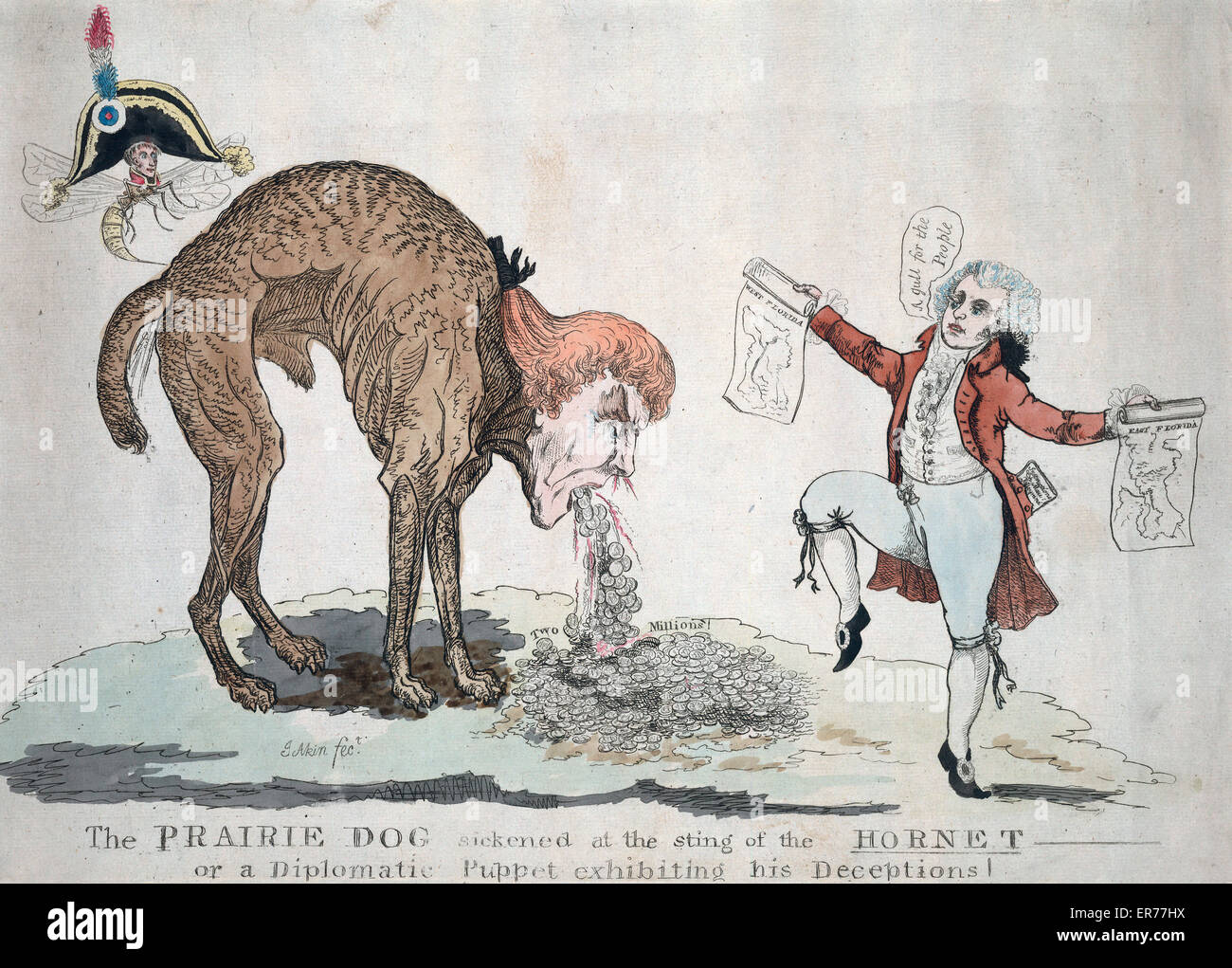 The prairie dog sickened at the sting of the hornet or a diplomatic puppet exhibiting his deceptions. James Akin's - Stock Image
