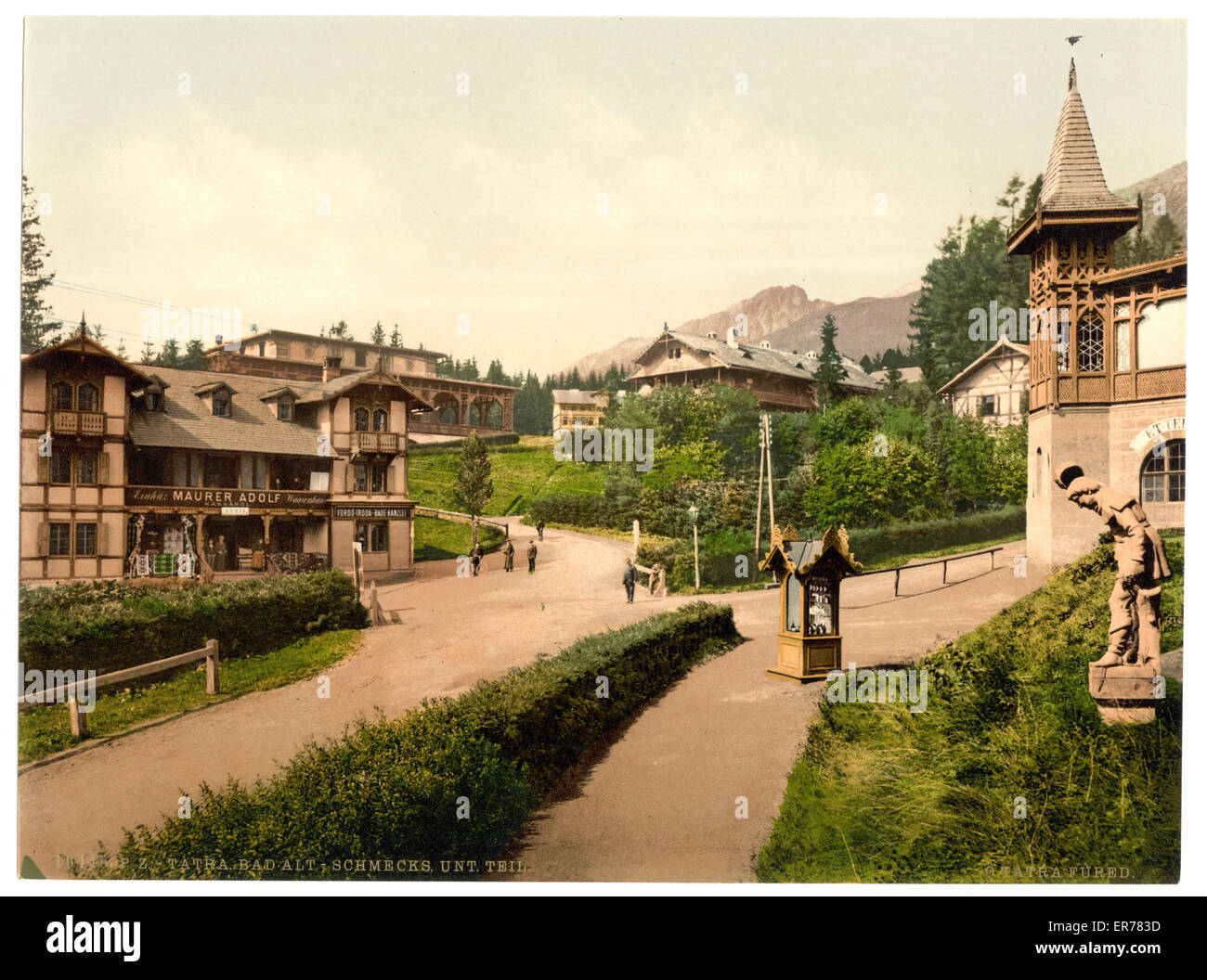 Bad Alt-Schmecks, lower part, Tatra, Austro-Hungary. Date between ca. 1890 and ca. 1900. - Stock Image