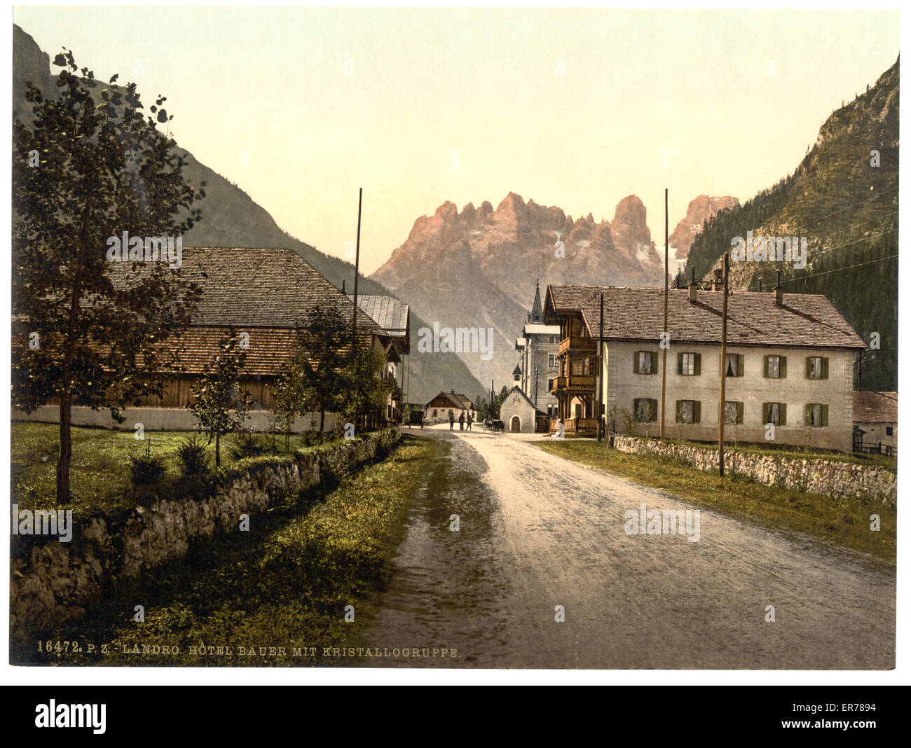 Landro, Hotel Bauer, Tyrol, Austro-Hungary. Date between ca. 1890 and ca. 1900. - Stock Image