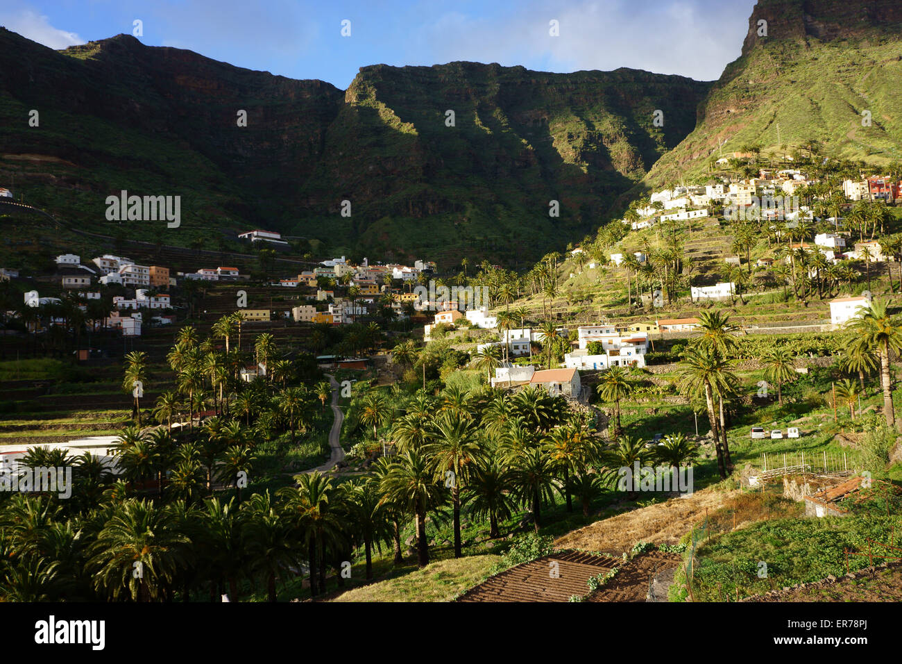Upper Valle Gran Rey with town Higuera del Llano, island La Gomera, Canary islands, Spain - Stock Image