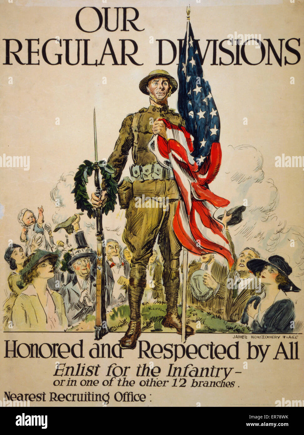 Our regular divisions, honored and respected by all Enlist for the infantry - or in one of the other 12 branches - Stock Image