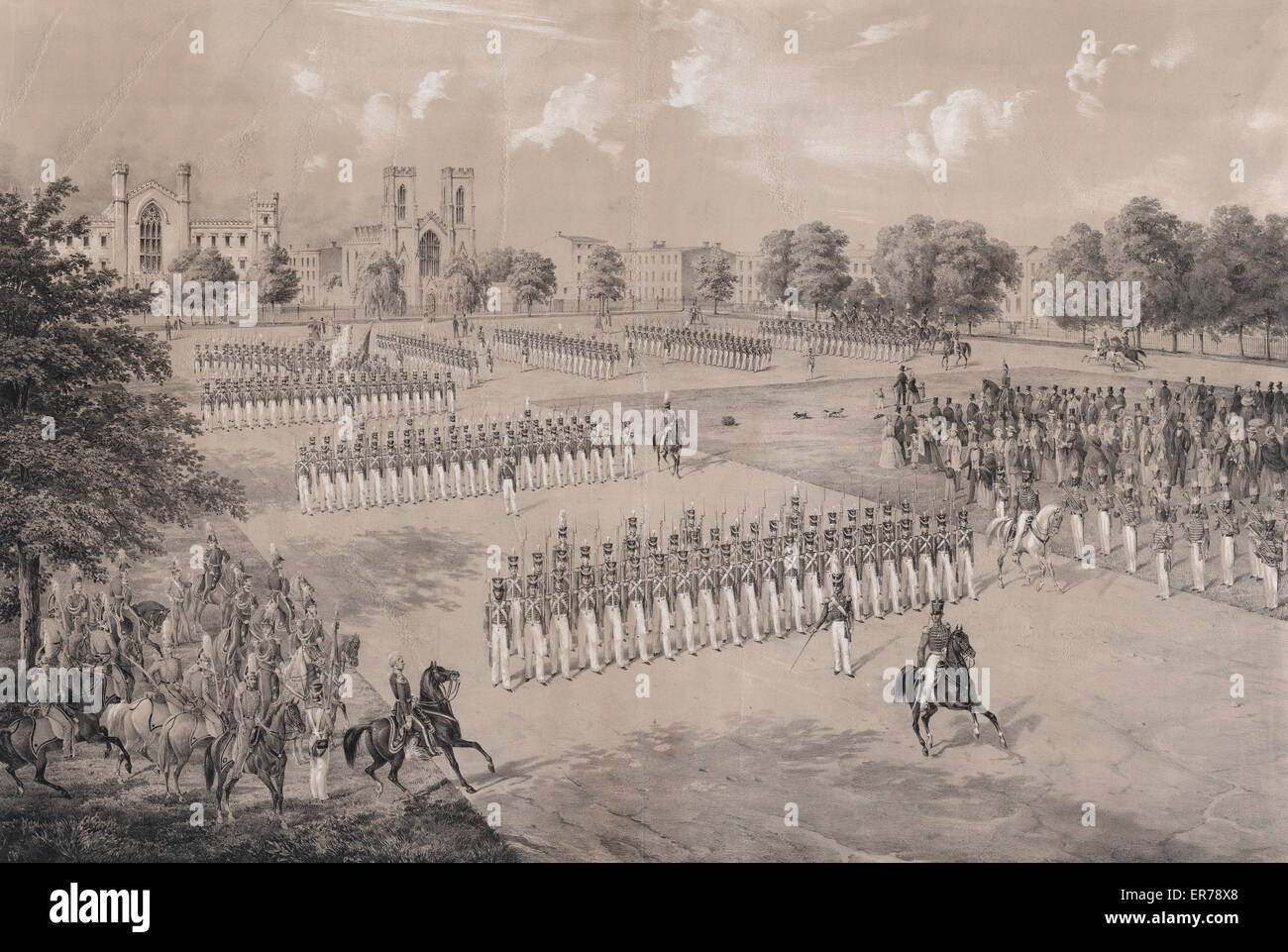 National Guard 7th Regiment N.Y.S.M. Print showing a mounted figure reviewing troops on a parade ground with gothic - Stock Image
