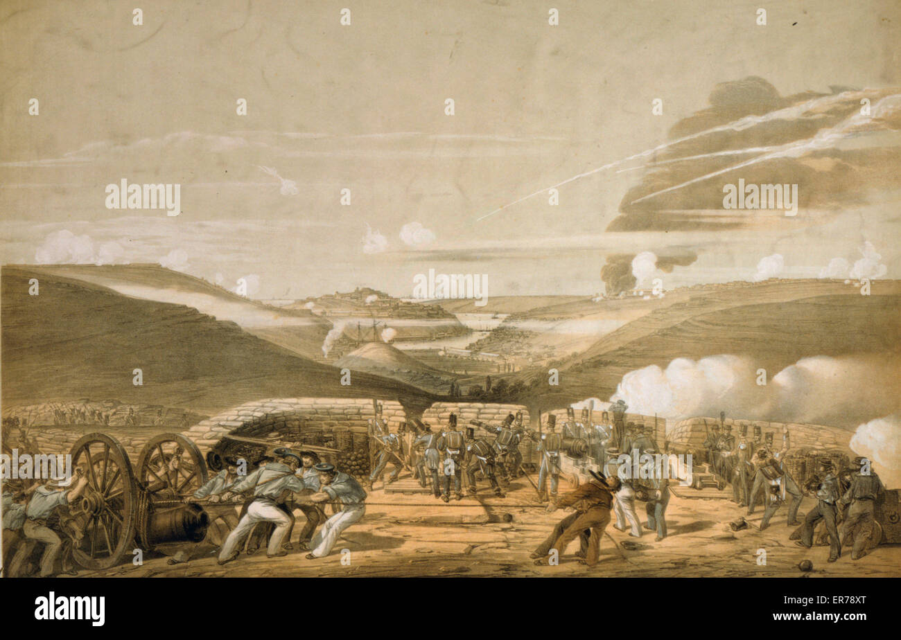 Siege of Sevastopol from the New 32 pounder battery above the left attack Picquet House. Interior view of the British - Stock Image