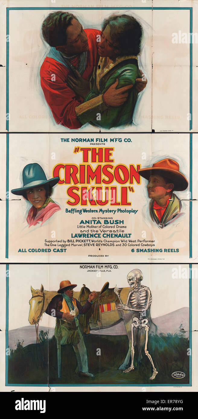 The Norman Film M'F'G Co. presents the crimson skull Baffling western mystery photoplay . Three panel motion - Stock Image