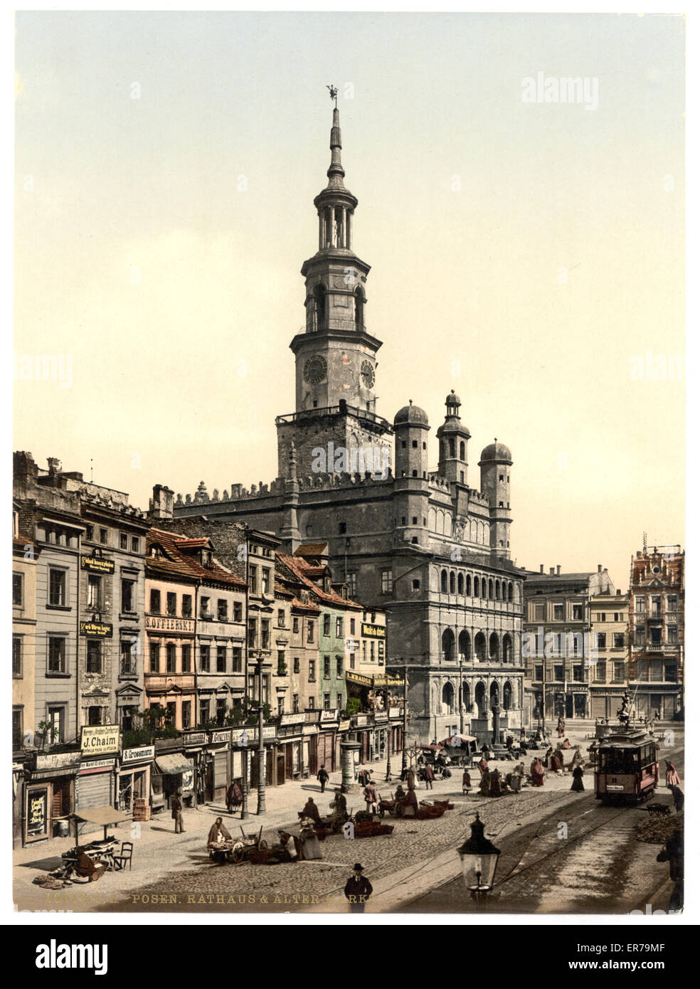 Court House and Old Market, Posen, Germany (i.e., Poznan Poland). Date between ca. 1890 and ca. 1900. - Stock Image