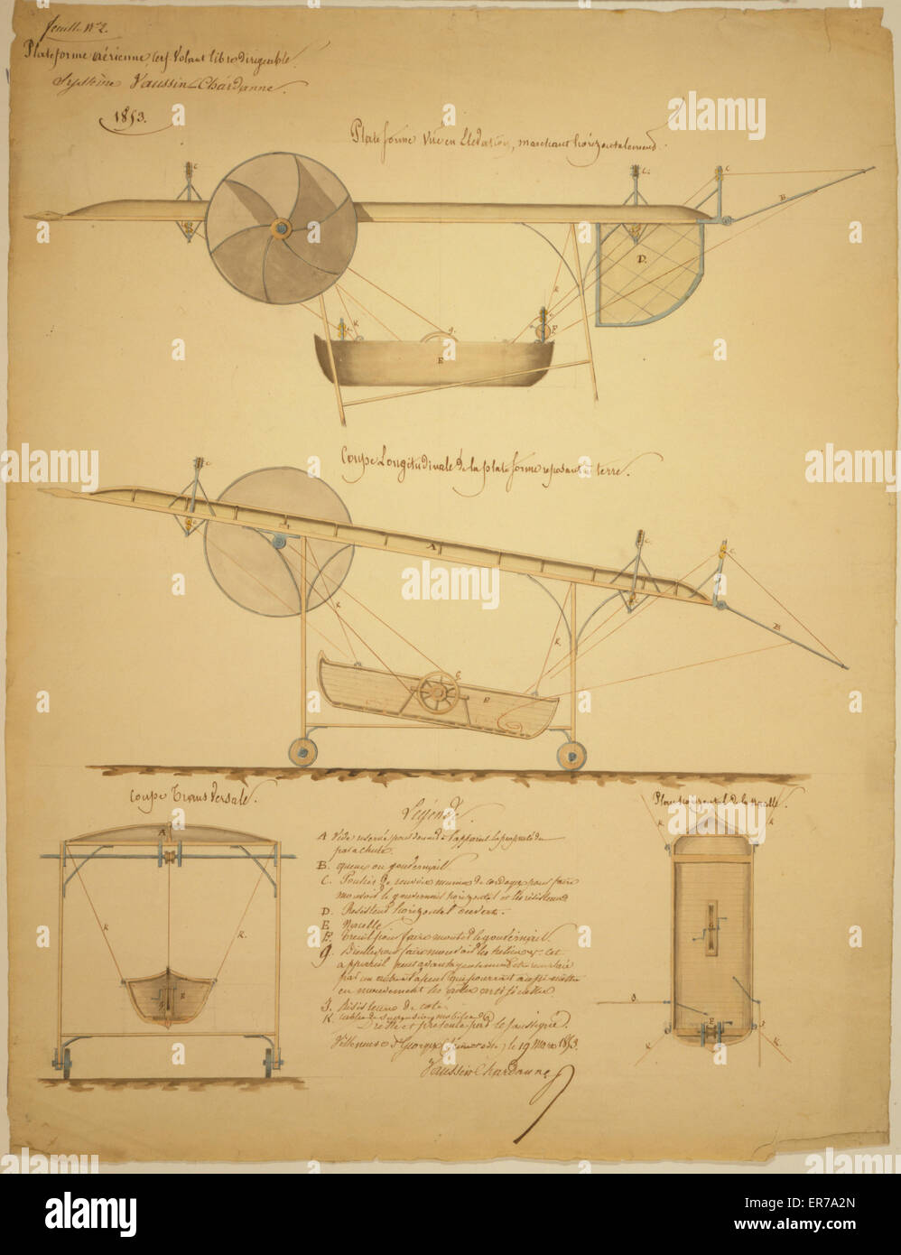 Plateforme aerienne, cerf-volant libre dirigeable, systeme Vaussin-Chardanne. Feuille no. 2. Design drawing shows - Stock Image