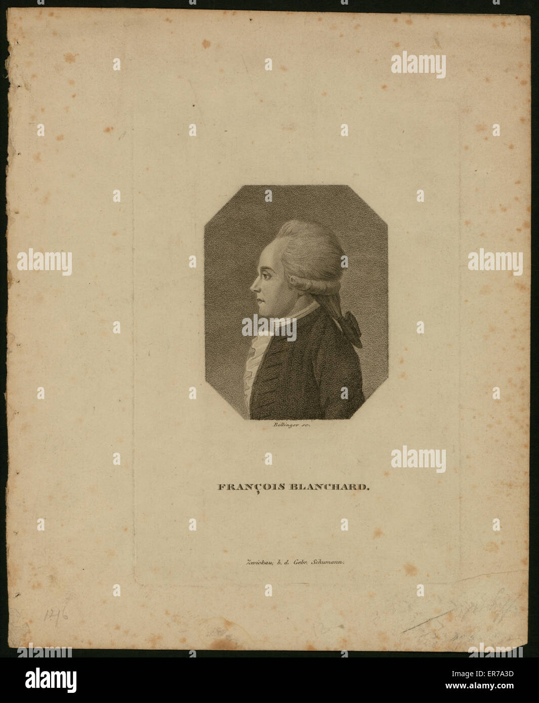 Portrait of French balloonist Jean-Pierre Blanchard. late 18th century Stock Photo