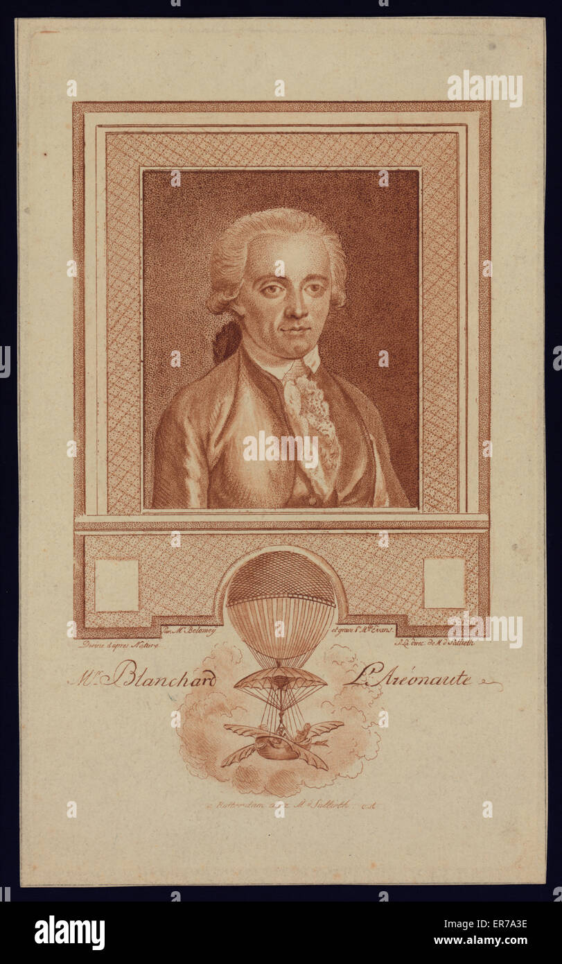 Portrait of French balloonist Jean-Pierre Blanchard. Includes image of Blanchard's balloon demonstrating his experiments Stock Photo