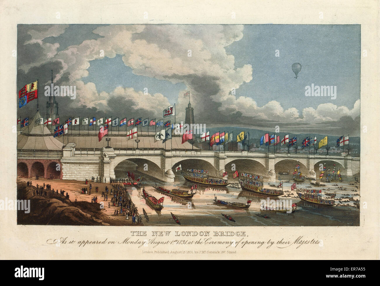 The new London bridge, as it appeared on Monday, August 1st, 1831, at the ceremony of opening by their Majesties. - Stock Image