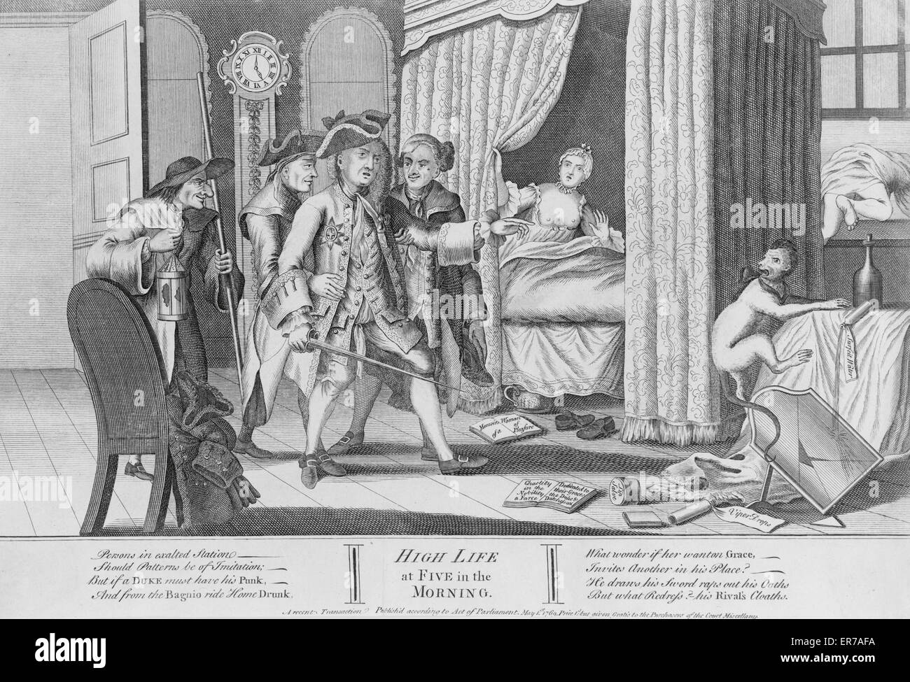 High life at five in the morning. Print shows an interior view of a room; a duke has arrived home drunk at 5 a.m. - Stock Image