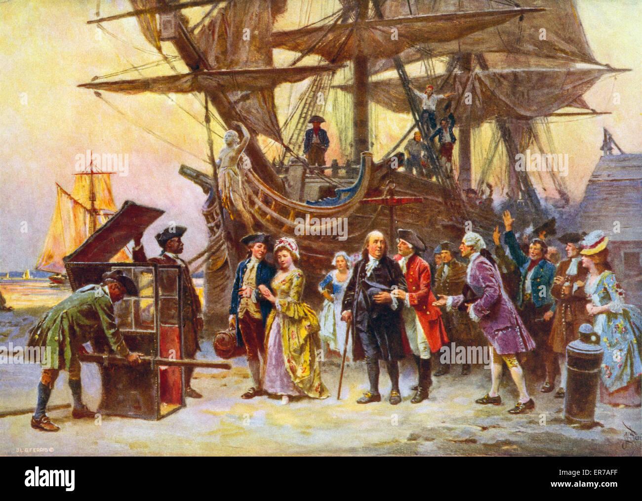 Franklin's return to Philadelphia, 1785. Benjamin Franklin, Richard Bache,  his wife Sarah, Franklin's daughter, and her son Benjamin Franklin Bache at  ...
