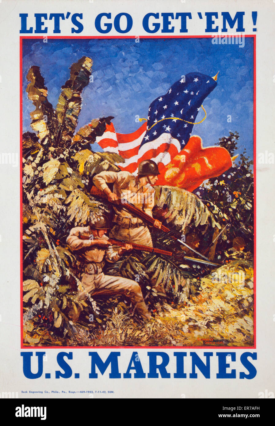 Let's go get 'em! US Marines. Poster showing Marines bearing rifles with bayonets and flags in a jungle. - Stock Image