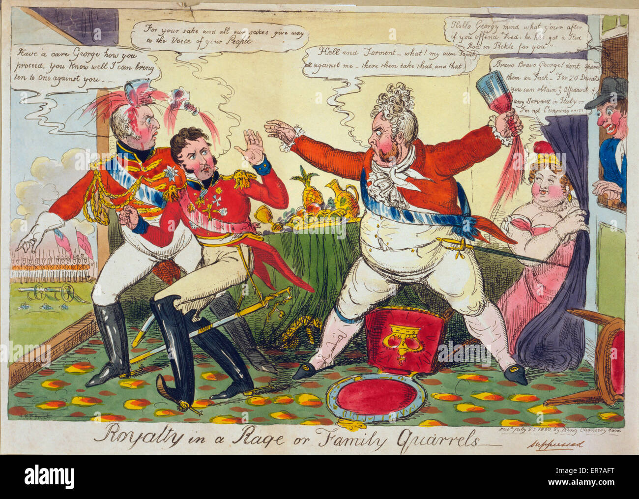 Royalty in a rage or family quarrels. Print showing George IV in a rage against family members (Frederick and William) - Stock Image