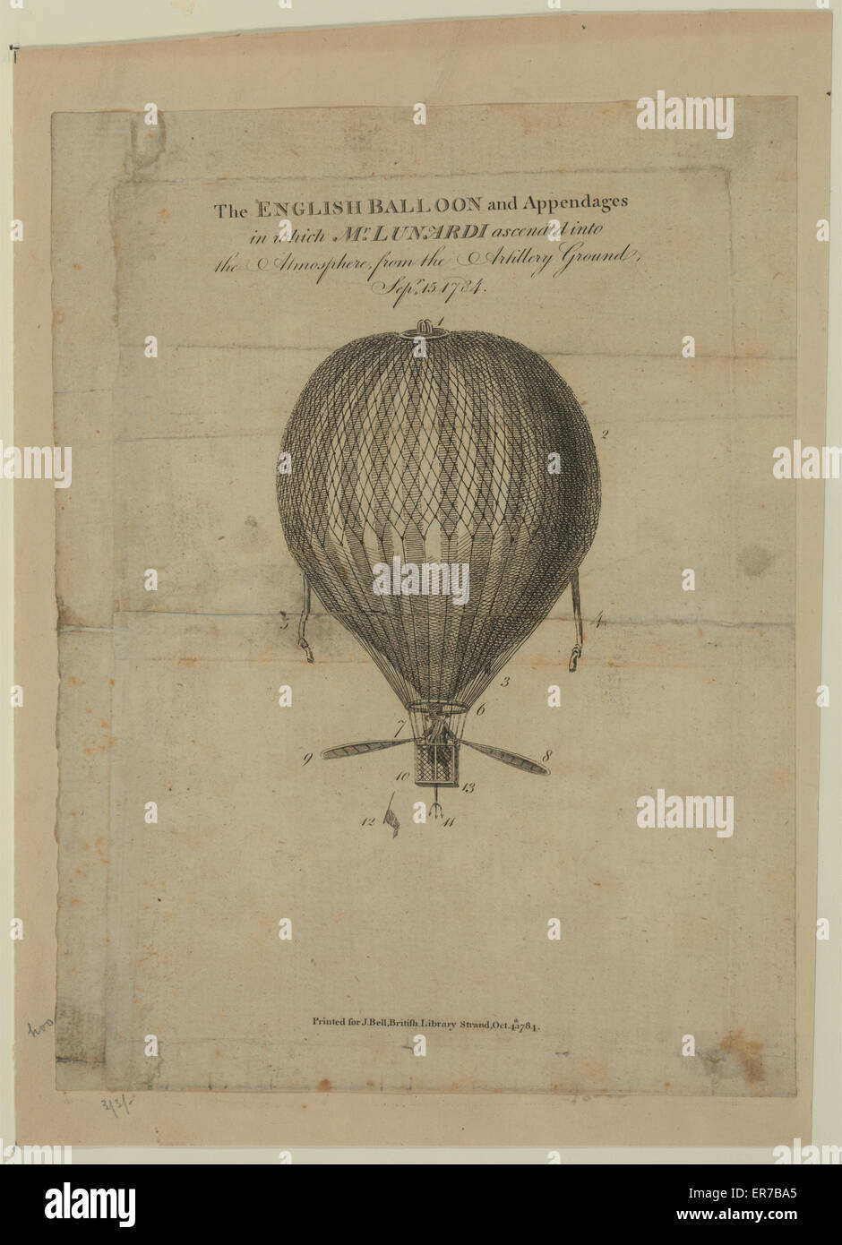 The English balloon and appendages in which Mr. Lunardi ascended into the atmosphere from the artillery ground, - Stock Image