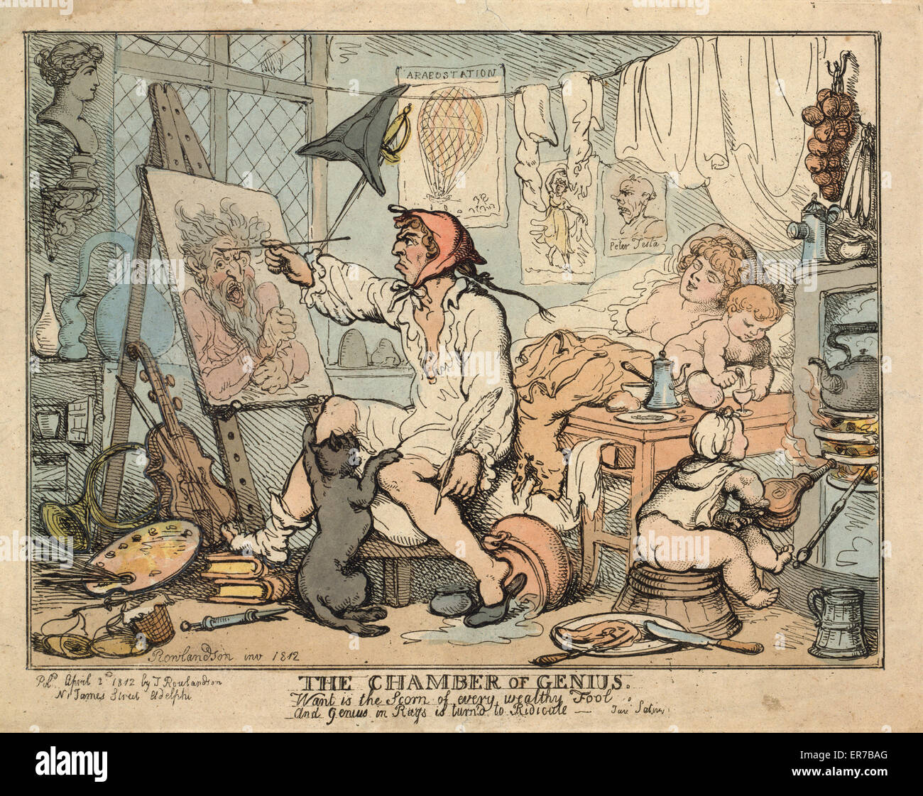 The chamber of genius. British cartoon shows an artist wearing nightshirt and painting a picture at his home/studio - Stock Image