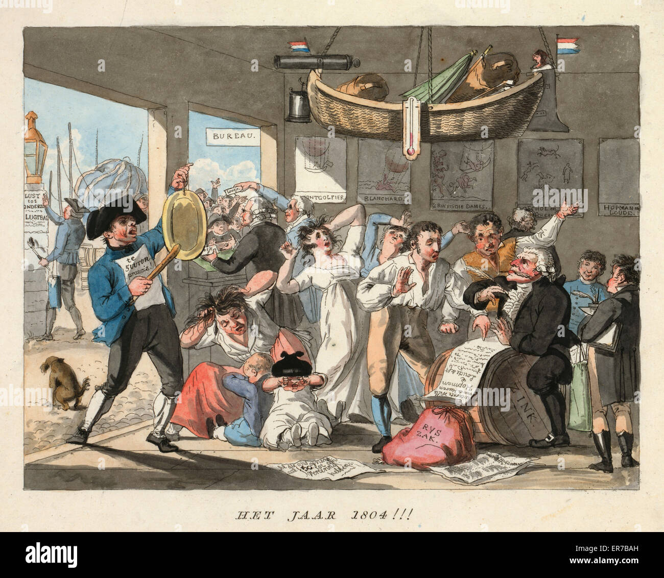 Het jaar 1804!!!. Dutch cartoon forecasts aeronautic events for the year 1804 by showing people in hysterics, possibly - Stock Image