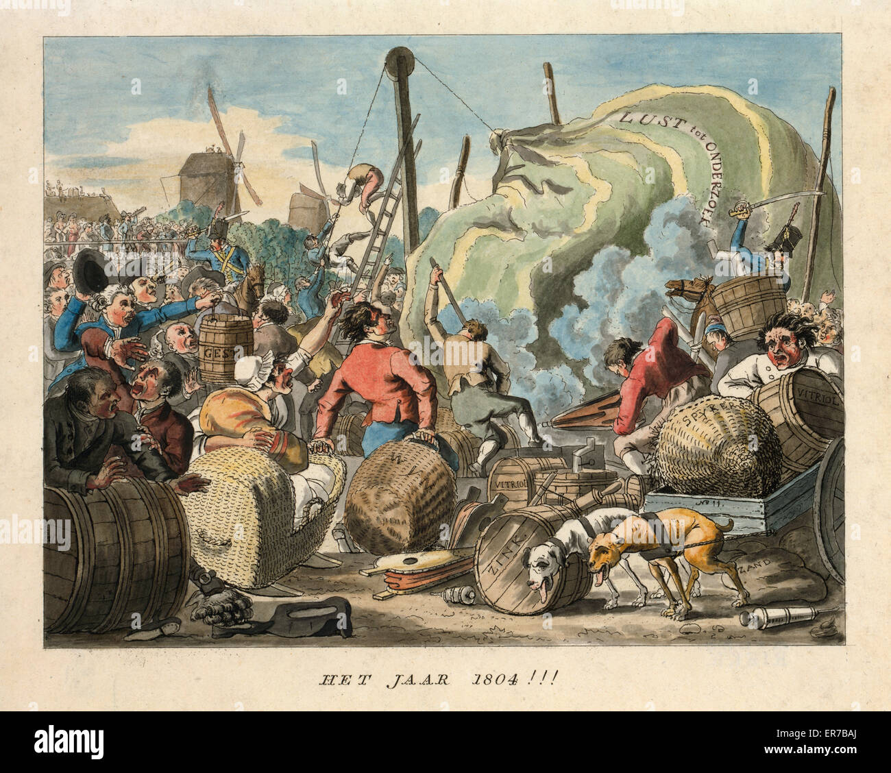 Het jaar 1804!!!. Dutch cartoon forecasts aeronautic events for the year 1804 by showing a scene at a failing balloon - Stock Image