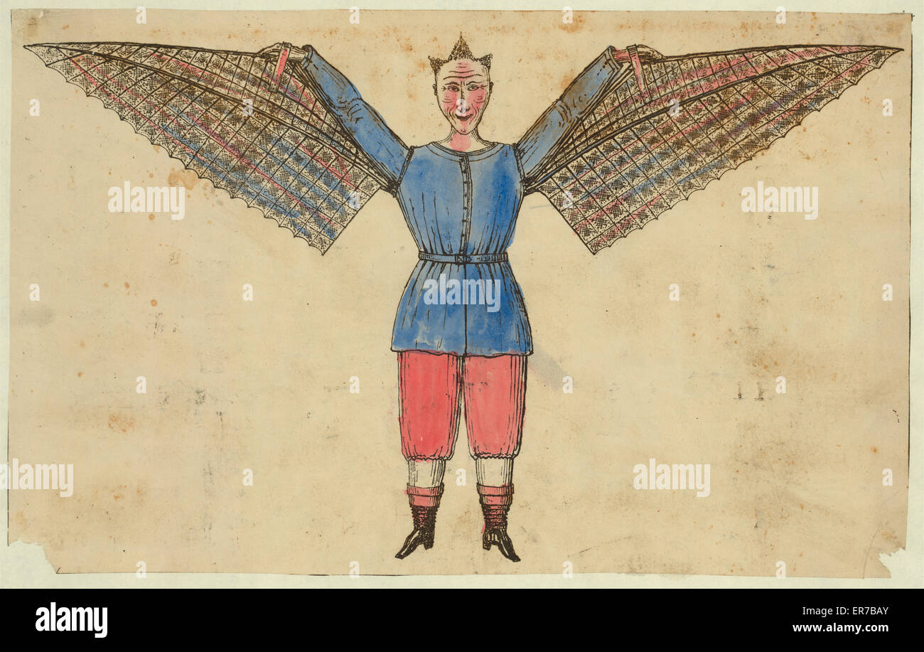 Humorous portrayal of a man who flies with wings attached to his tunic. Date between 1800 and 1830. - Stock Image