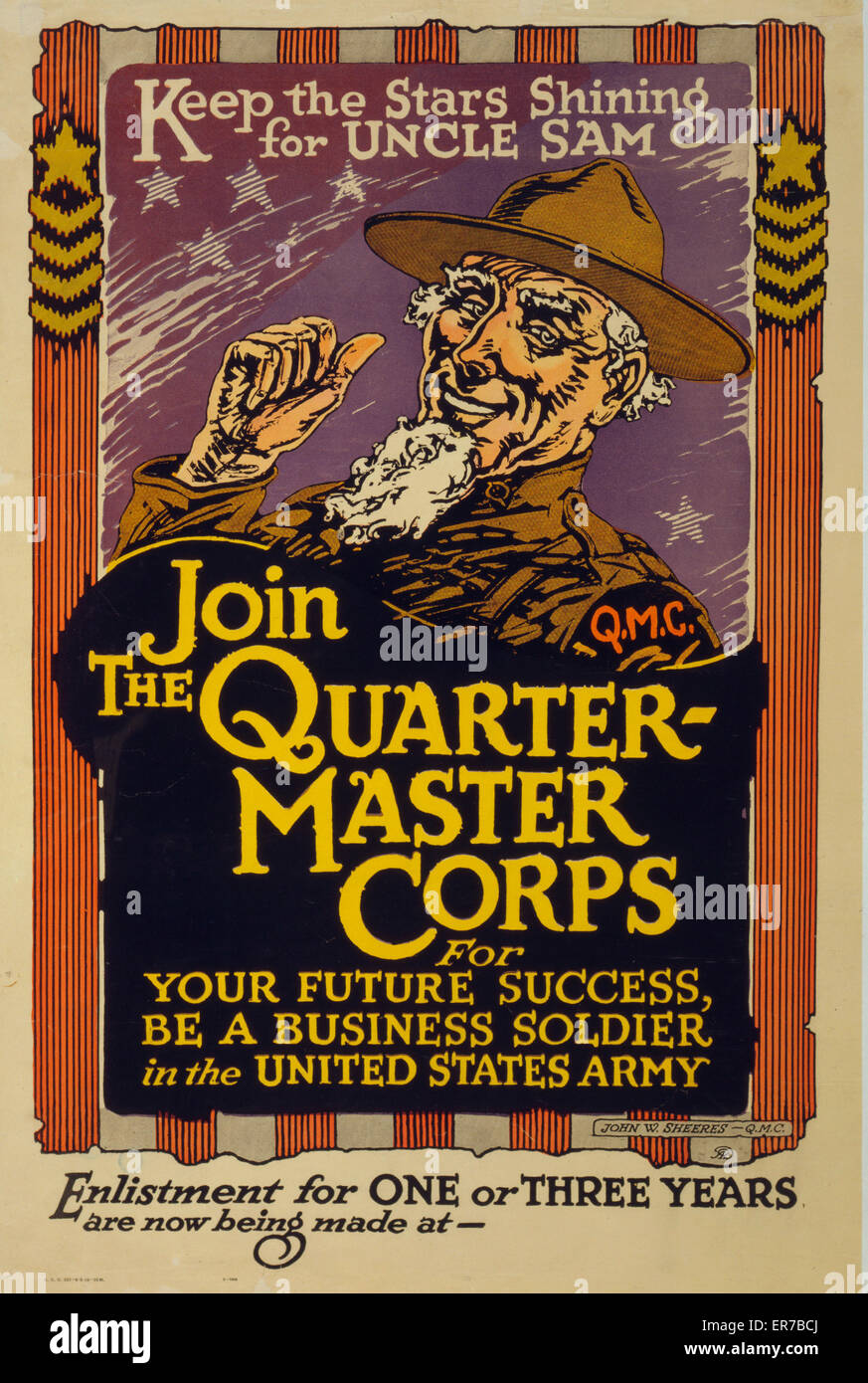 Keep the stars shining for Uncle Sam - Join the Quartermaster Corps. Poster showing Uncle Sam in a quartermaster's - Stock Image